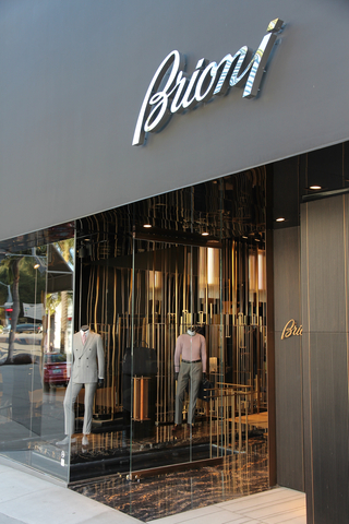 A picture of a Brioni storefront, a Italian brand fashion line known for its suits.